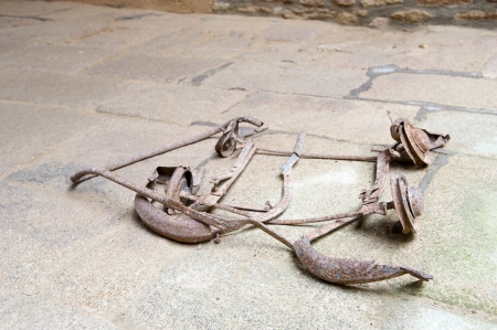 desecrated: Destroyed pram at the floor in church in Oradour sur Glane in the French Limousin Stock Photo