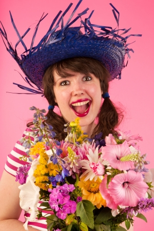 Young woman is happy with bouquet flowers photo