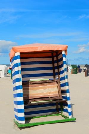 Red and white striped beach tent at wadden island Borkum