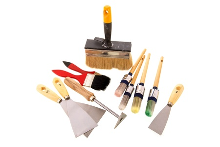 Tools for the painter isolated over white background photo