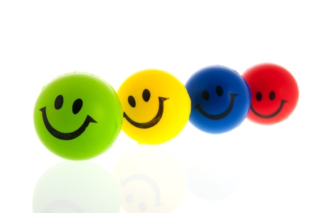 happy balls with smiling faces photo