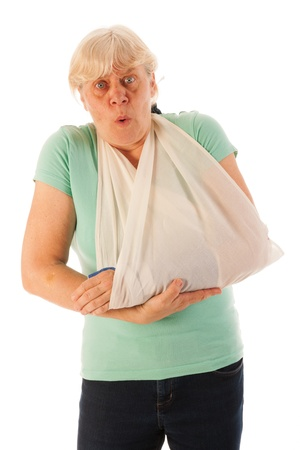 cast: Old woman with broken wrist in blue gypsum isolated over white background