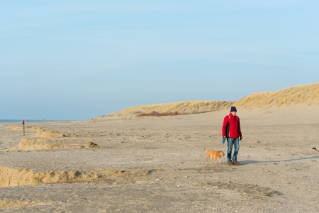 Man walking with dog at the Dutch beach in winter Stock Photo - 19424932