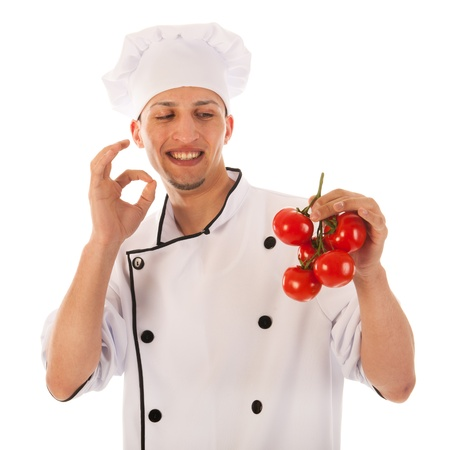 Cook with fresh bunch tomatoes isolated over white background Stock Photo - 19424869