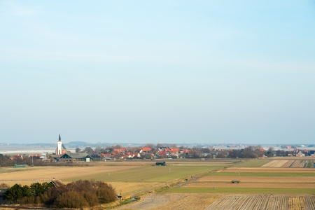 hoorn: High angle view at Dutch wadden island Texel with village Den Hoorn