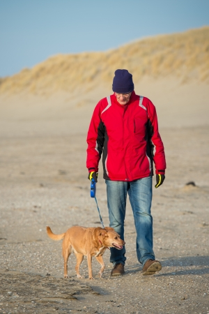 Man walking with dog at the Dutch beach in winter Stock Photo - 19424912