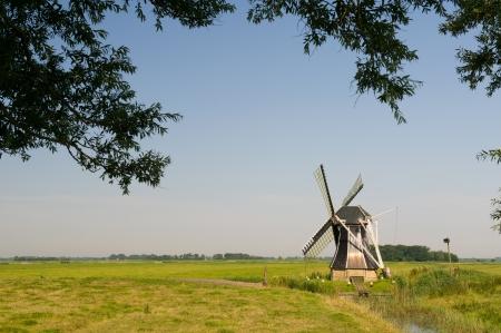Dutch windmill in landscape at Friesland Stock Photo