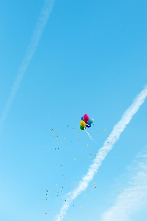 blowed: Balloon competition with colorful balloons in the air Stock Photo