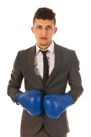 eager: aggressive businessman with boxing gloves Stock Photo