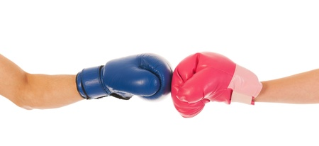 woman boxing gloves: Boxing couple isolated over white background