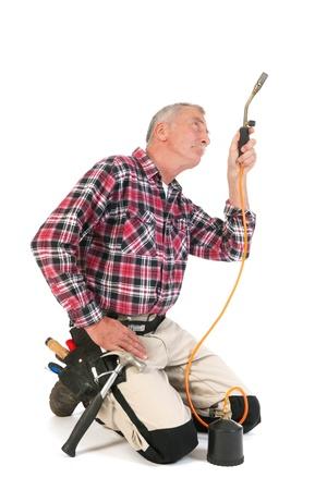 solder: Man is solder in the studio