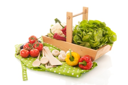 cooking with assortment vegetables in harvest basket photo