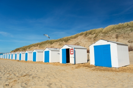Row blue and white beach cabins for vacation surpose photo