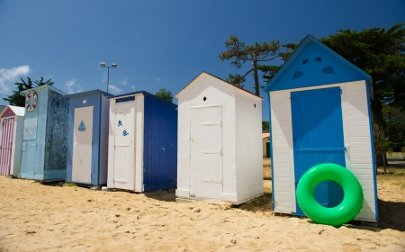 Colorful beach huts on the beach at Saint-Denis island dOleron in France photo