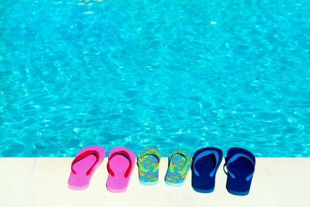 flip flops at swimming pool from the family photo