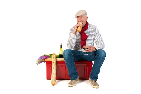 Typical French man with bread and wine isolated over white background Stock Photo - 21042464