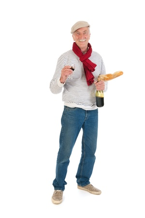Typical French man with bread and wine isolated over white background Stock Photo - 21042466