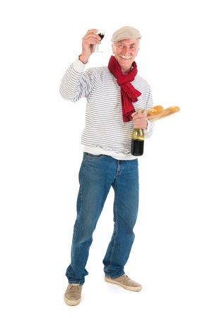 Typical French man with bread and wine isolated over white background Stock Photo - 21042467