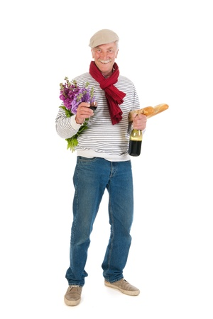 Typical French man with bread and wine isolated over white background Stock Photo - 21042469