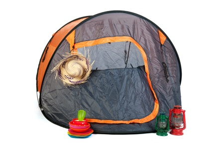 isolated tent on camping with light equipment photo