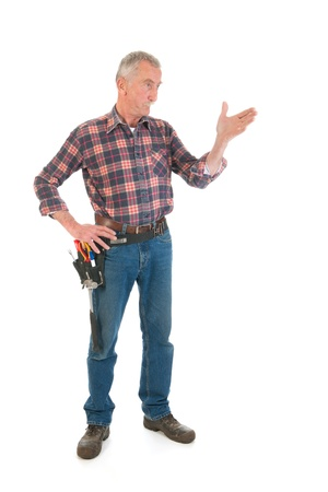 Senior man as manual worker standing in studio Stock Photo - 21403363
