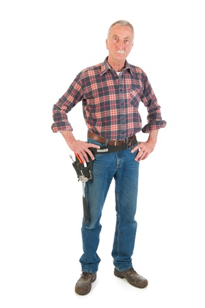 Senior man as manual worker standing in studio Stock Photo - 21403364