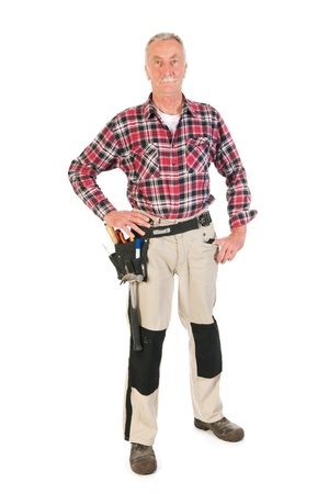 Senior man as manual worker isolated over white background Stock Photo - 21403372
