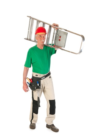 Senior man as manual worker with stepladder isolated over white background Stock Photo - 21403375