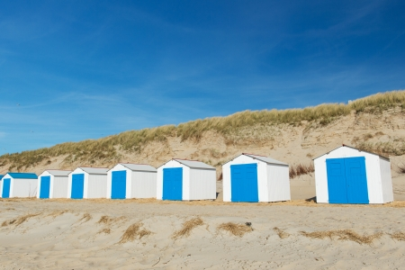 wadden: Row blue and white beach cabins for vacation surpose