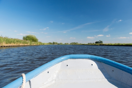 Prow of blue boat on river