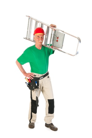 Senior man as manual worker with stepladder isolated over white background Stock Photo - 22115603