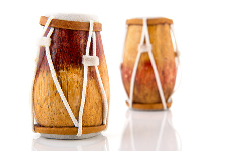 african drums: African drums isolated over white background