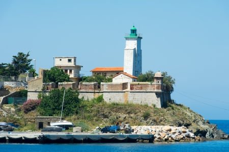 port vendres: Landscape with lighthouse  of Port Vendres Stock Photo