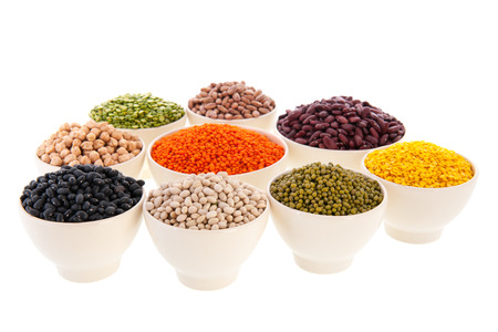 Assortment legumes in white bowls Stock Photo - 22821413