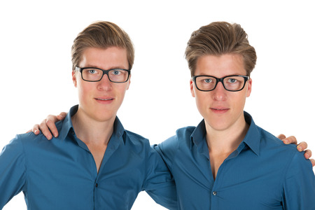 alter ego: Identically adult male twins in studio