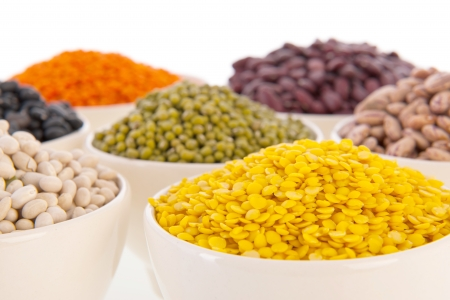 common bean: Assortment legumes in white bowls