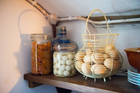 preserving: Preserving food in the cellar to keep it cool in the 20e century