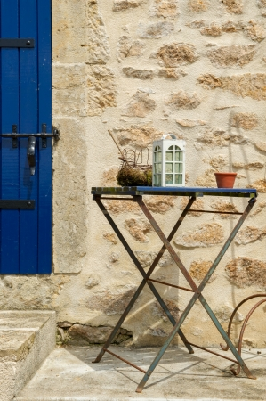 little table: Little table with lantern outdoor in France