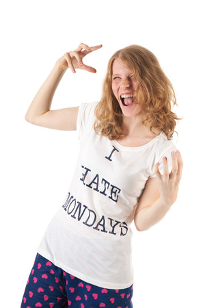 fanatic studio: Young woman is hating mondays Stock Photo