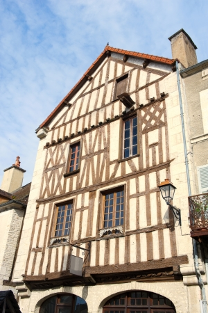 half timbered house: Facade of old half timbered house in French Burgundy, village Noyers