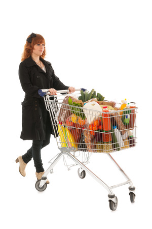 Woman with shopping cart full with dairy grocery products isolated over white background Stock Photo - 23961013
