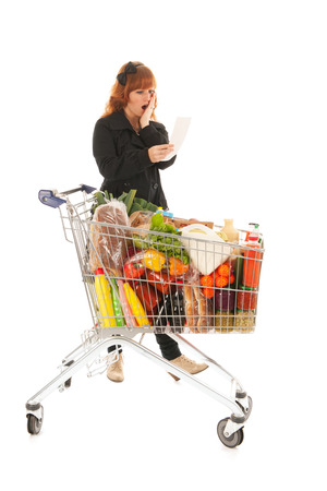 costumer: Critical costumer reading receipt from groceries in supermarket