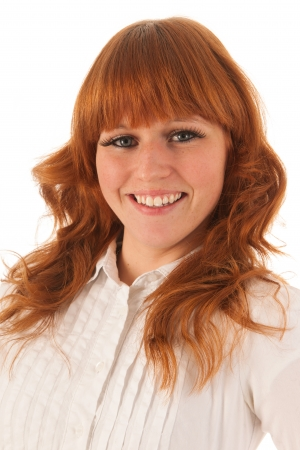 red haired woman: Portrait red haired woman with a smile isolated over white background Stock Photo
