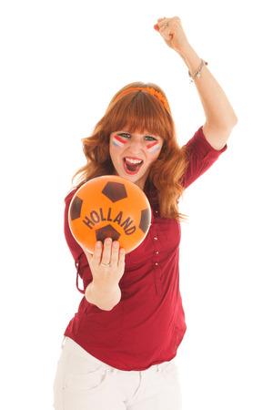 fanatic studio: Young red haired woman as Dutch soccer fan