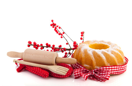 Baking turban and cookies for Christmas isolated over white