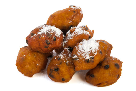 Dutch traditional oliebollen isolated over white  Stock Photo