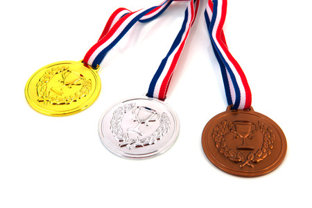 Dutch medals in gold, silver and bronze isolated over white  photo
