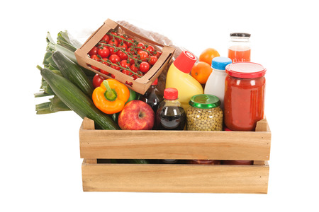 Wooden crate fresh vegetables and other dairy groceries photo