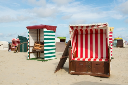 wadden: Typical chairs at the beach of German wadden island Borkum