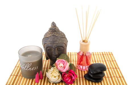 Stilllife with wellness objects as buddha towels and orchid flowers photo
